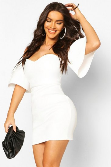 White Off The Shoulder Flared Sleeve Mini Dress