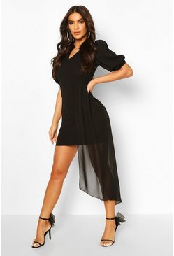 Black V Neck Puff Sleeve Belted Draped Mini Dress
