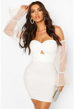 White Organza Sleeve Bardot Mini Dress