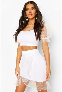 White Dobby Organza Ruffle Mini Skirt