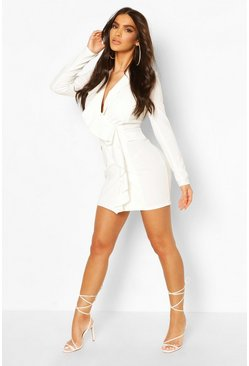 White Ruffle Front Blazer Dress