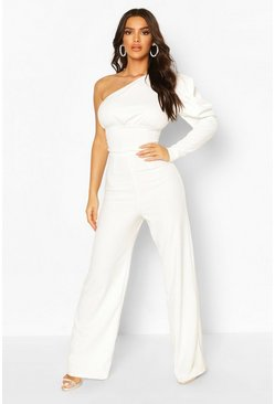 White One Shoulder Puff Sleeve Jumpsuit