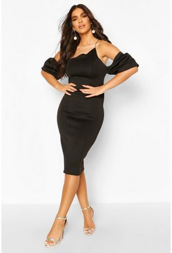 Black Asymetric Puff Sleeve Bardot Midi Dress