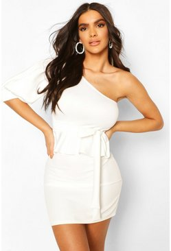 White One Shoulder Belted Ruffle Hem Top
