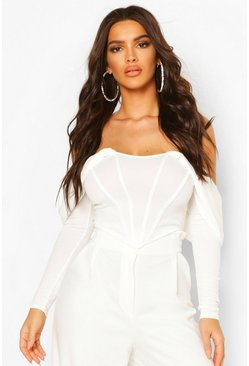 White Draped Sleeve Boned Corset Top