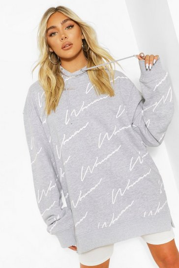 Grey marl All Over Woman Print Oversized Hooody