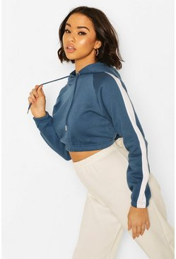 Indigo Side Stripe Crop Hoody