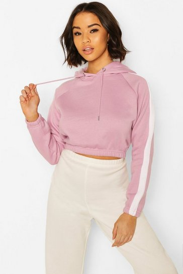 Lilac Side Stripe Crop Hoody