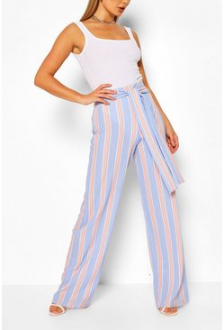 Blue Pastel Stripe Belted Wide Leg Trousers