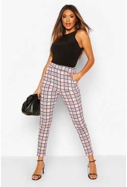 Pink Pastel Check Skinny Trouser