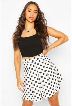 Ivory Pleated Polka Dot Skater Skirt