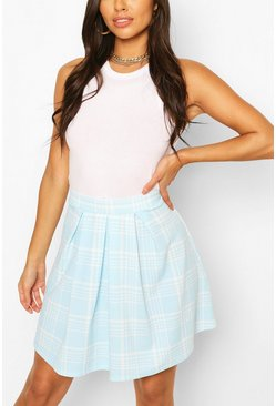 Blue Pastel Check Pleated Skater Skirt