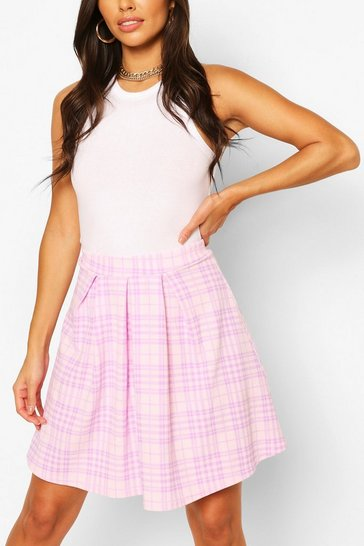 Pink Pastel Check Pleated Skater Skirt