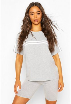 Grey marl Sports Striped Oversized T-Shirt