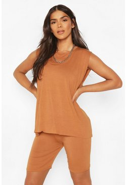 Camel Oversized Vest And Cycling Short Set