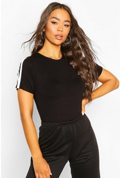 Black Short Sleeve Side Stripe Body