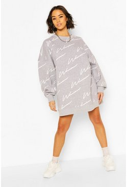 Grey marl Woman All Over Print Oversized Sweat Dress
