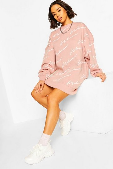 Pink Woman All Over Print Oversized Sweat Dress