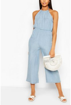 Light blue Chambray Halterneck Jumpsuit