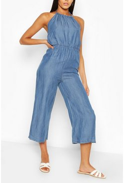Mid blue Chambray Halterneck Jumpsuit