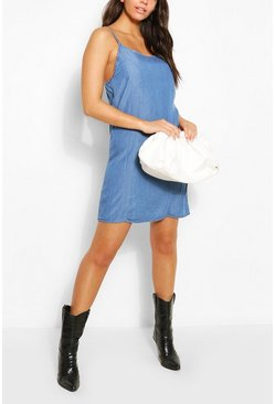 Mid blue Chambray Strappy Shift Dress