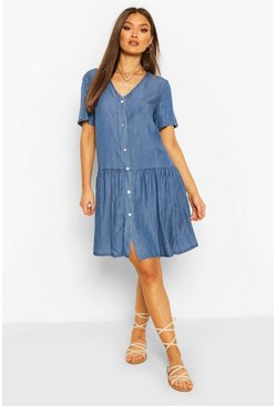 Mid blue Chambray Mock Horn Button Smock Dress