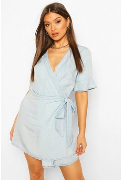 Light blue Chambray Tie Wrap Skater Dress