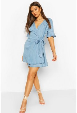 Mid blue Chambray Tie Wrap Skater Dress