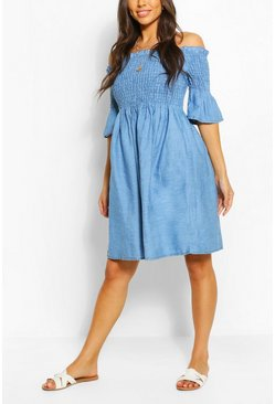 Mid blue Chambray Shirred Off Shoulder Skater Dress