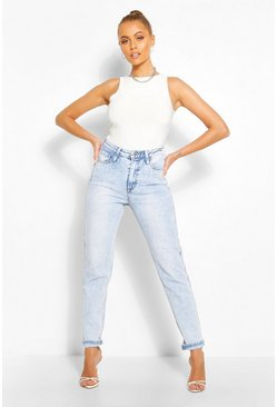 Light blue High Rise Stretch Slim Mom Jean