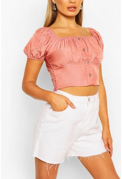 Pink Chambray Shirring Puff Sleeve Top