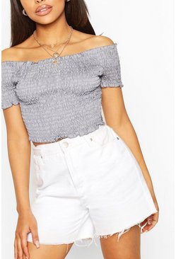 Blue Chambray Shirred Bandeau Top