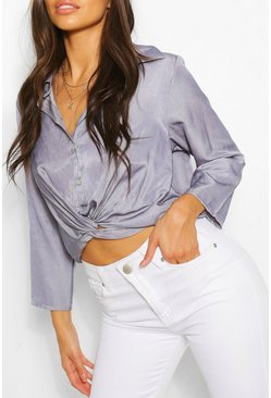 Blue Chambray Twist Front Shirt