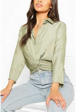 Chambray-Hemd mit gedrehter Front, Khaki