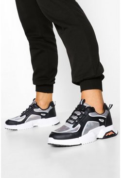Black Reflective Piping Chunky Sneakers
