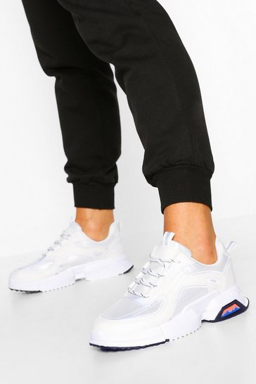 White Reflective Piping Chunky Trainers