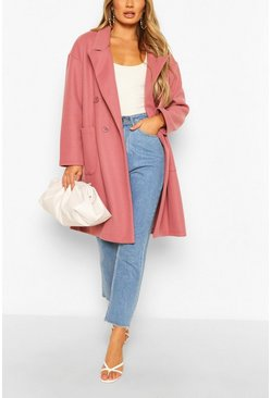 Rose Double Breasted Pocket Detail Wool Look Coat