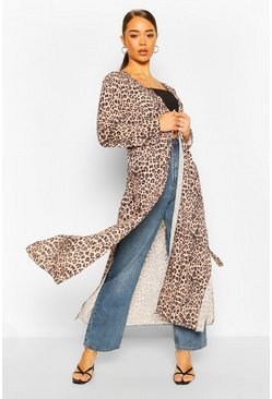 Natural Leopard Print Maxi Belted Kimono