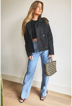 Black Short Double Breasted Trench