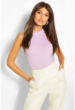 Lilac Ribbed High Neck Racer Bodysuit