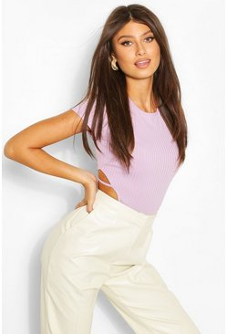 Lilac Ribbed Cut Out Strapping Cap Sleeve Bodysuit