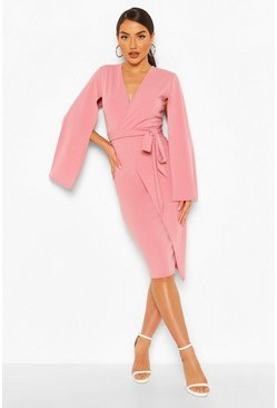Blush Cape Detail Wrap Midi Dress