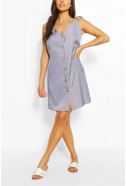 Blue Chambray Button Front Strappy Dress