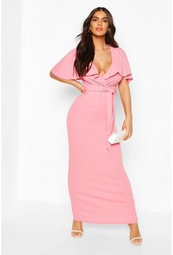 Coral Bardot Belted Maxi Dress