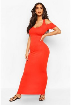 Red Cold Shoulder Scoop Neck Maxi Dress