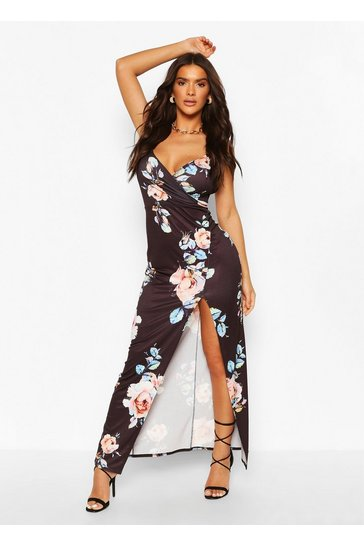 Black Floral Print Wrap Front Strappy Maxi Dress