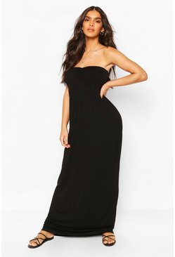 Black Ruched Bust Bandeau Maxi Dress