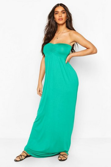 Green Ruched Bust Bandeau Maxi Dress