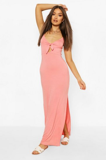 Coral Tie Front Cami Maxi Dress