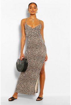 Brown Leopard Print Wrap Front Maxi Dress